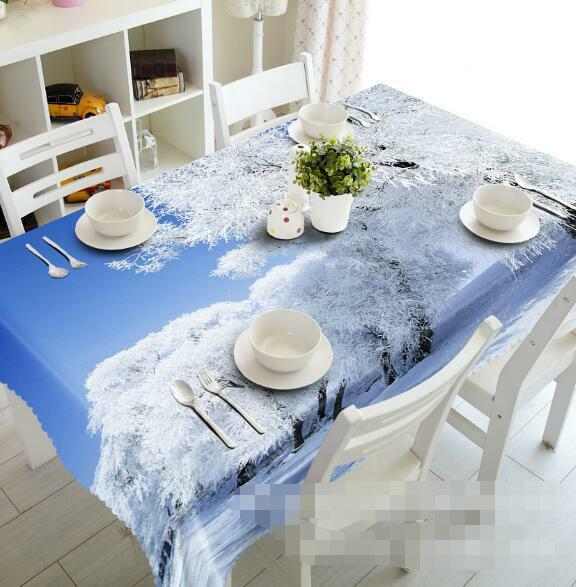 3D Snow Tree 5 Tablecloth Table Cover Cloth Birthday Party Event AJ WALLPAPER AU