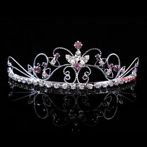 Handmade Brides Bridesmaid Prom Purple Pearls /& Black Crystal Tiara headband
