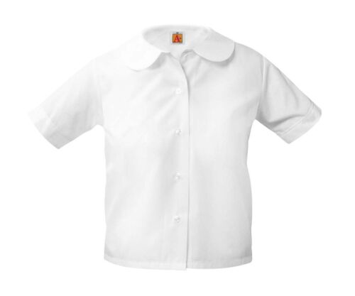 NEW SCHOOL APPAREL PETER PAN SHORT SLEEVE BLOUSE STYLE 9381 COLOR WHITE