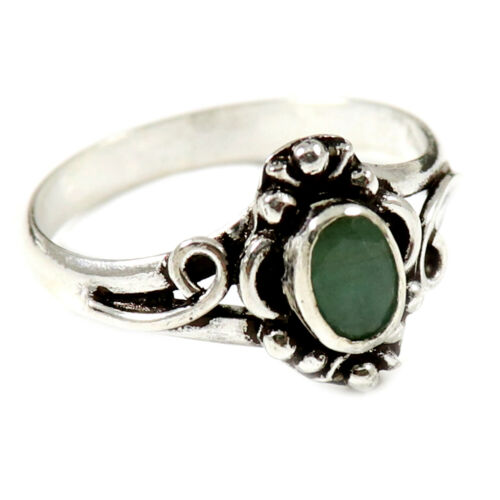 Details about  /Solid 925 Sterling Silver Ring Emerald Facetedi Solitaire Ring Jewelry GESR181J
