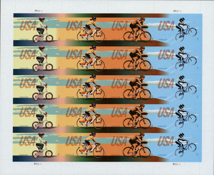 2012 45c Bicycling, Sheet of 20 Scott 4687-90 Mint F/VF