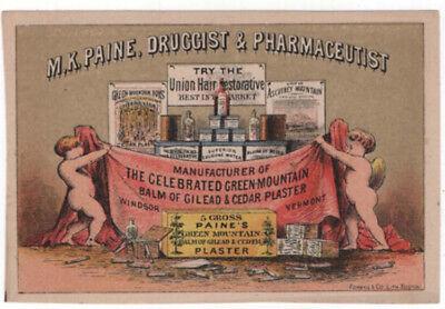 PAINE Vermont Trade Card Druggist /& Pharmaceutist M K Windsor