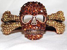 Rhinestone Copper Skeleton Skull Bones Bangle Bracelet Hinge Cuff