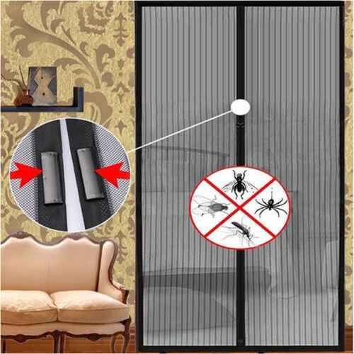 Lot De 2 Moustiquaire Rideau Magnétique Aimantée Magneto Mesh Design Noir Neuf