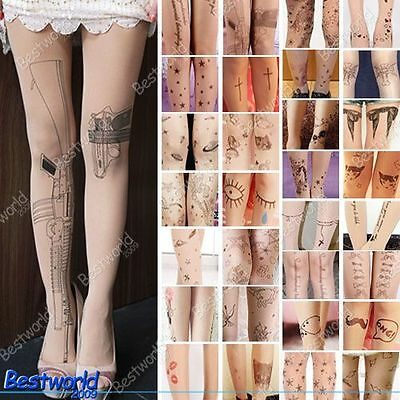 Trendy Sexy Tattoo Pattern Temptation Sheer Pantyhose Tights Stockings