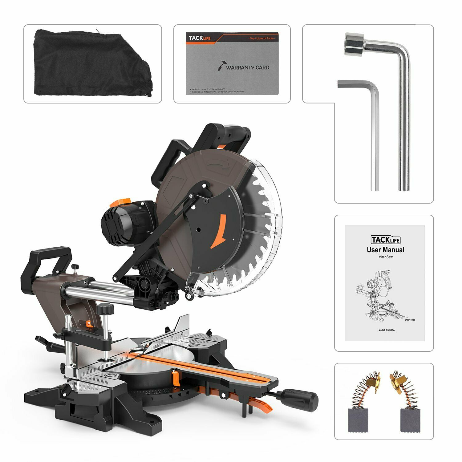 Sliding Miter Saw, Tacklife 12inch 15Amp Double-Bevel Compound Miter Saw  with La