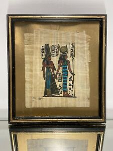 Framed EGYPTIAN Painted On PAPYRUS OF NEFERTARI AND ISIS Signed