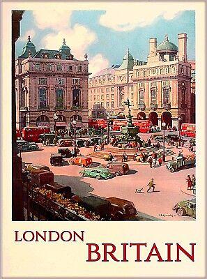 London England Great Britain BEA British Vintage Travel Advertisement Poster