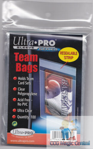 1 PACK ULTRA PRO TEAM BAGS WITH RESEALABLE STRIP FOR TEAM SETS TOPLOADERS 100