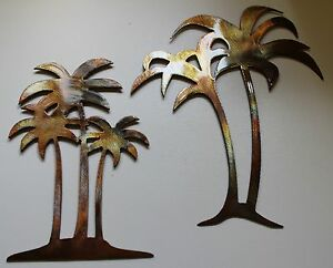 Palm Tree Metal Wall Art palm tree set large pair metal wall art decor | ebay