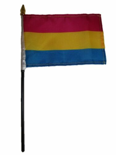 "Wholesale Lot of 6 Gay Pride Pansexual Rainbow 4/""x6/"" Desk Table Flag"