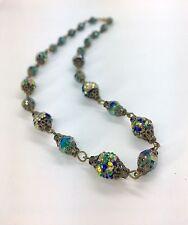 VINTAGE Art Deco ITALIANO ZUCCHERO VETRO sventate Perline Color Foglia Di Tè Blu Filigrana Collana