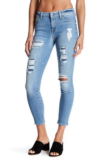 229 NEW 7 For All Mankind The Ankle Skinny - Super Skinny Destroy & Sequins 29