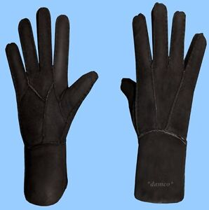 8549e1361 NEW WOMENS size 6.5-S BLACK SHEARLING LAMBSKIN SUEDE LEATHER GLOVES ...
