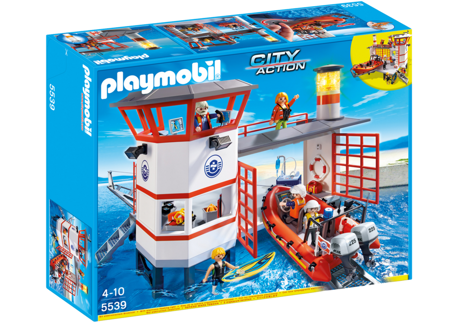 PLAYMOBIL City Action 5539 Coast Guard Station with Lighthouse Play Set NEW