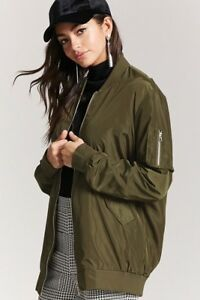 c9b607e68 Details about NWT Forever 21 Green Longline Bomber Jacket, Size S-M-L,  Super Cute! $25
