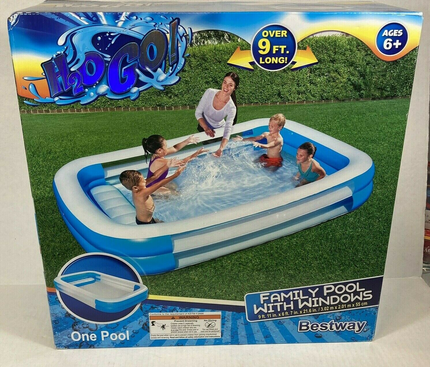 H2OGo Inflatable Family Play Swimming Pool Bench Seat Kiddie Almost 10' Fun NEW
