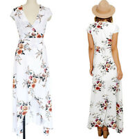 Women's Summer Chiffon Soft Floral Short Sleeve Sexy Party Long Dress S~2X