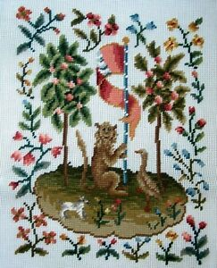 EP-1080-2-Vintage-Medieval-Animals-Preworked-Design-Needlepoint-Canvas