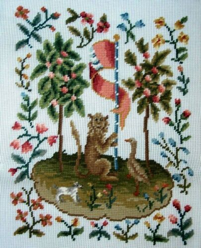 EP 1080//2 Vintage Medieval Animals Preworked Design Needlepoint Canvas