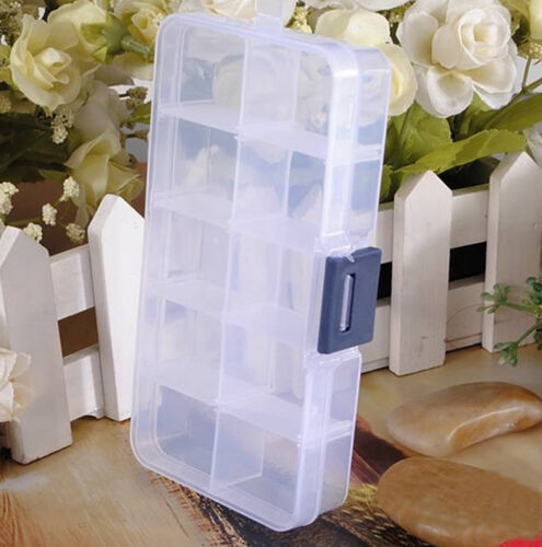 10 Compartments Clear Plastic Storage Box Jewelry Bead Screw Container Organizer