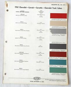 1961 CHEVROLET CAR DUPONT COLOR PAINT CHIP CHART ALL ...