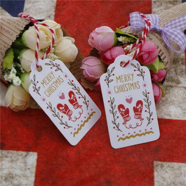 50pcs Merry Christmas Kraft Paper Gift Tags Label Hanging Cards With String JB