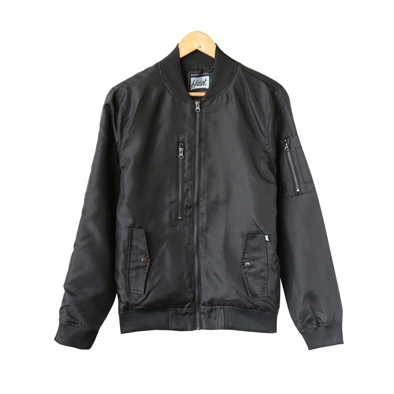 Manteau de sport en plein air Flight pour homme, col montant et veste bombardier Beautiful Giant, noir