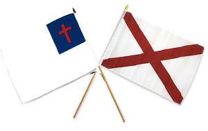 12x18 30.5cmx45.7cm En Gros Combo Christ Chrétien État Alabama Bâton Drapeau