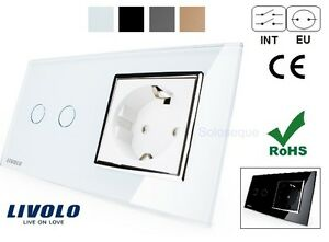 INTERRUPTOR-DOBLE-ENCHUFE-LUZ-TACTIL-EU-LIVOLO-Touch-Switch-2-gang-Socket