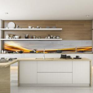 Kuchenruckwand Spritzschutz Kuche Gehartetes Glas Abstrakt Orange