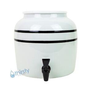 Water Crock Green Stripes Porcelain Dispenser Spigot Valve Faucet Aqua H2O Jug
