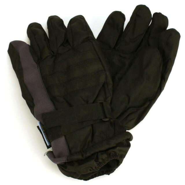 Men's Winter Thinsulate 3M Waterproof Hook&Loop Ski Wrist Cover Gloves Gray L/XL