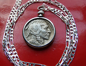 Rare-Full-Horn-1936-US-Buffalo-Nickel-Pendant-30-034-925-Silver-Chain