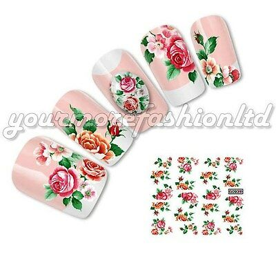 NAIL ART WATER TRANSFERS STICKERS DECALS NEW RED ROSES(D45)