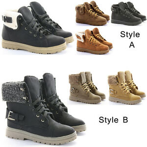 Womens Combat Fur Lined Winter Army Worker Military Ankle Boots ...