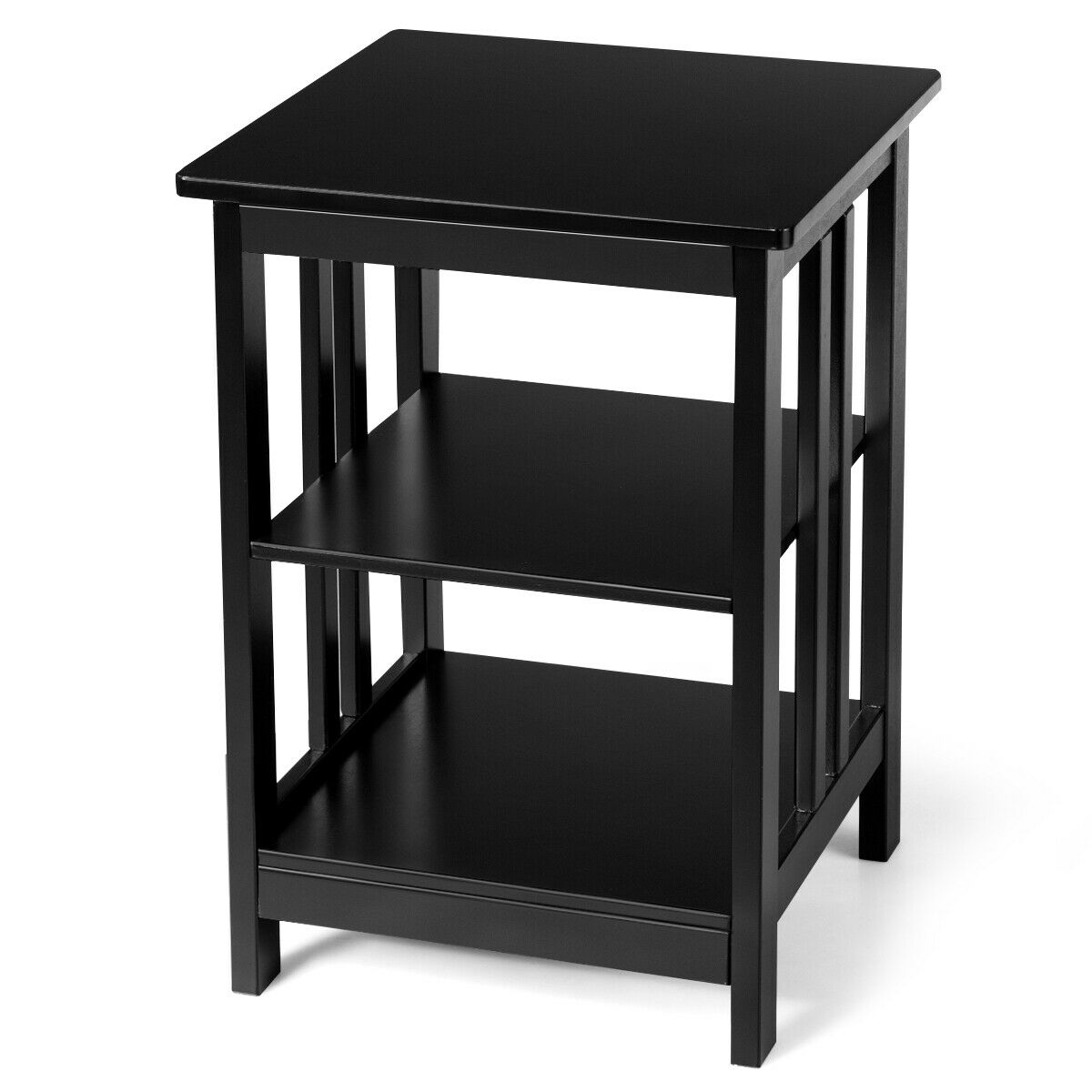 3 Tier Nightstand Side Table Wooden End Table W Baffles Round Corners Black