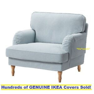 Ikea-STOCKSUND-Armchair-Chair-Cover-Slipcover-REMVALLEN-BLUE-WHITE-New-SEALED