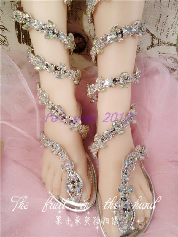 Donna Gladiator Rhinestone Strappy Bling Bling Thong Flip Mid Calf Flip Thong Flop Sandals 62ea91