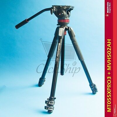 Manfrotto Mt055xpro3 Aluminum Tripod With 502hd Pro Video Head Mvh502ah Ebay
