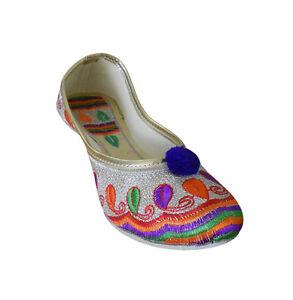 Women-Shoes-Embroidered-Jutties-Flip-Flops-Ballerinas-UK-1-5-5-5-EU-35-38-5