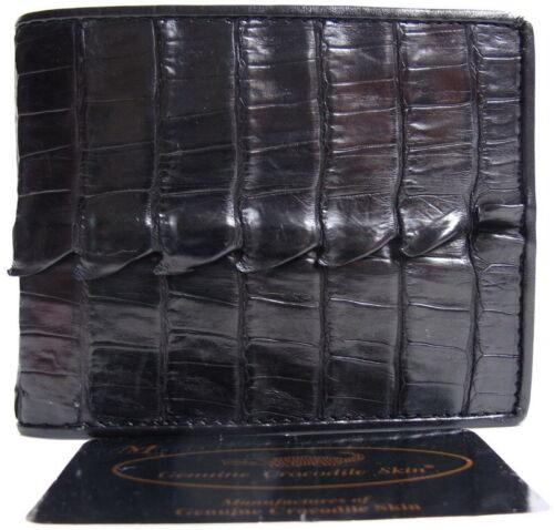 100/% GENUINE CROCODILE TAIL LEATHER MEN/'S BIFOLD WALLET POCKET COIN SHINY BLACK