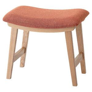 Vanity Stool Low Chair Orange Fabric Seat Ash Wood CL-790COR ...