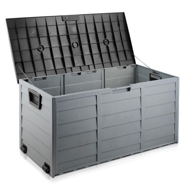 290L Plastic Outdoor Storage Box Container Weatherproof Black