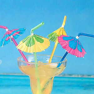 Image Is Loading 20 Paper Umbrella Plastic Drinking Straw Cocktail Beach