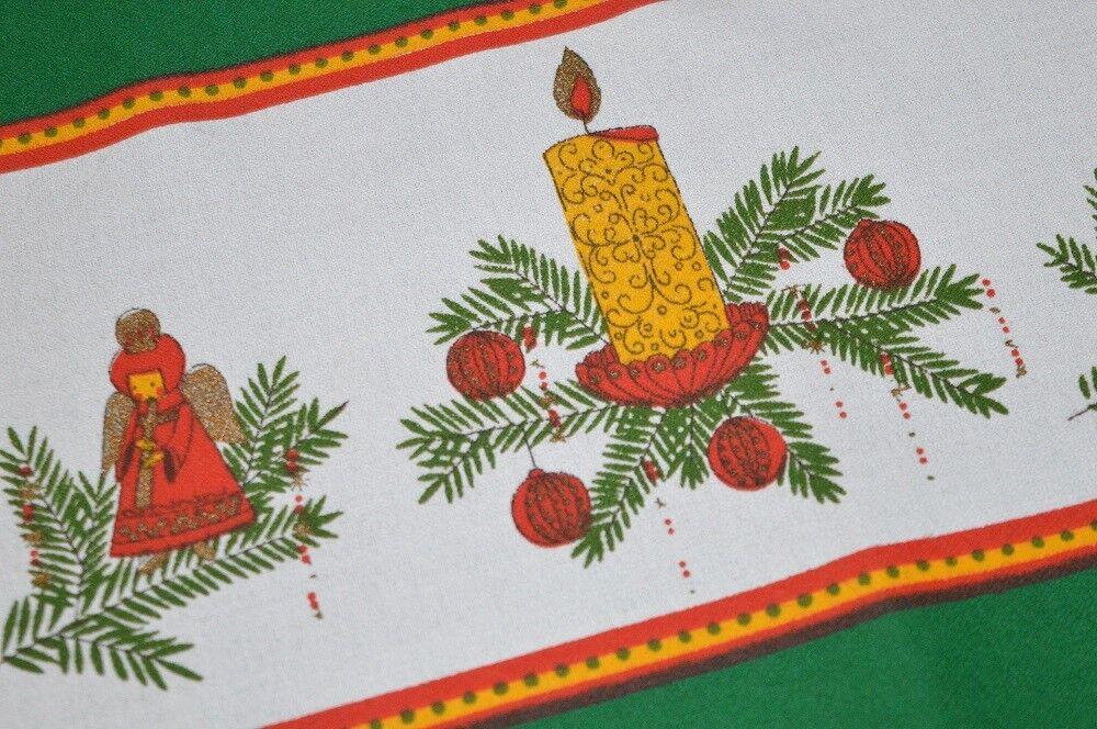 ANGEL MUSICIAN & FOLK ART SNOWFLAKE  VTG GERMAN CHRISTMAS RETRO PRINT TABLECLOTH
