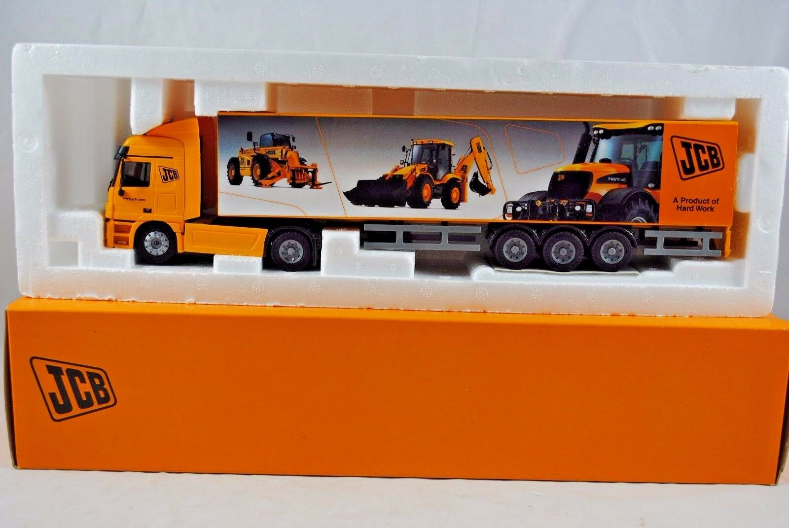 JOAL 1 50  Ref.359 MERCEDES-BENZ Truck & JCB WORLDWIDE EVENT BOX Trailer MIB