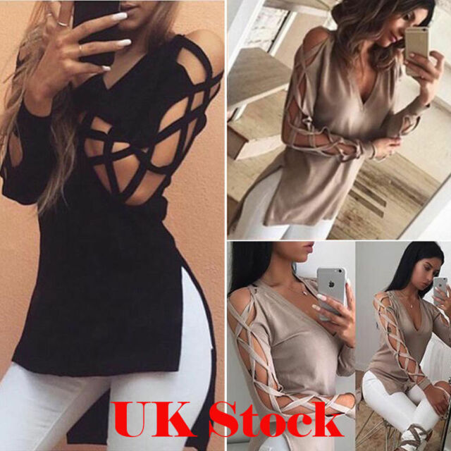 Plus Size ! UK Womens Choker V Neck Floral T-Shirt Ladies Loose Tops Blouse 6-18