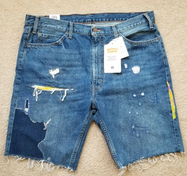 Levis Denim Shorts Sz 40 Orange Tab 505c Distressed Patched Slim Cut-Off e00f2433b481b