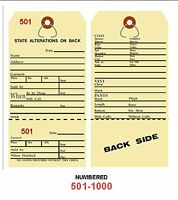 Alteration Tags 6-1/4 X 3-1/8 2-sided Manila With Button Slot Numbered501-1000